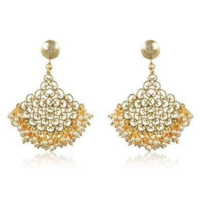 accessorisingg伝統的インドHanging Earrings in Gold for Wedding/エスニック着用[ ter015 ]