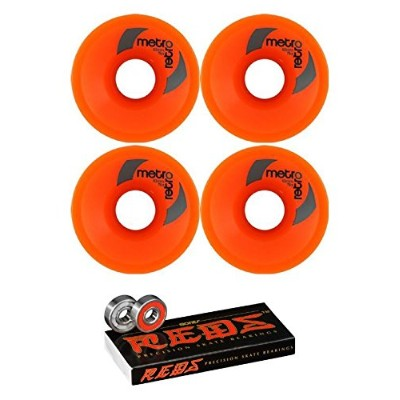 ウィール タイヤ スケボー スケートボード 海外モデル 63mm Metro Wheel Company Retro Orange Longboard Skateboard Wheels - 78a...