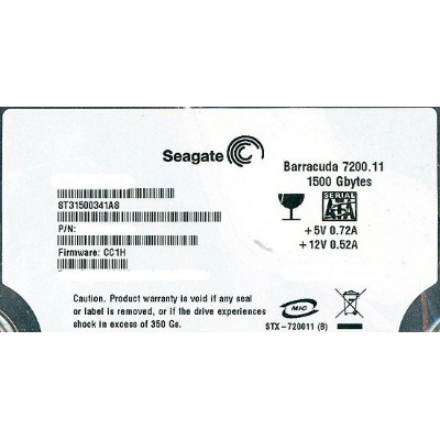 SEAGATE製HDD ST31500341AS 1.5TB 7200SATA 3Gb/s