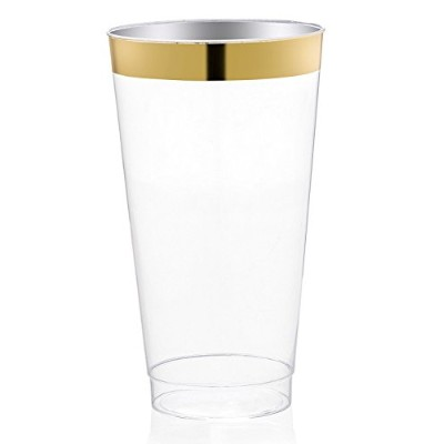 DRINKET Gold Plastic Cups 470ml Clear Plastic Cups / Tumblers Fancy Plastic Wedding Cups With Gold...