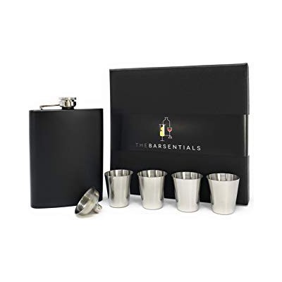 (Black) - Classy Matte Black 240ml Flask Set/4 Stainless Steel Shot Cups/Funnel/Gift Box - Perfect...