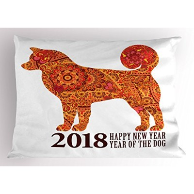 Year of the Dog Pillow Sham by Ambesonne、Canineデザイン咲き乱れる花とHearts 2018 Festiveアジアカレンダー、装飾標準Kingサイズプリン...