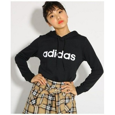 【SALE/20%OFF】PINK-latte 【adidas/アディダス】 ロゴパーカー ピンク ラテ カットソー パーカー ブラック ピンク【送料無料】