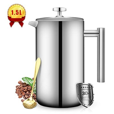 French Press Coffee Maker Double Walled Stainless Steel (50 Oz-1.5L) Coffee/Tea Maker with Extra...