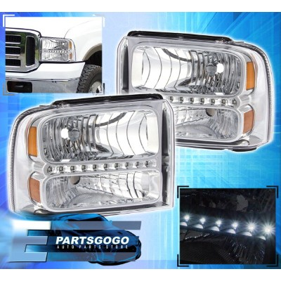 USコーナーライト 05-07 F250 F350 F450 SUPER DUTY 1PC DIRECT REPLACEMENT LED DRL HEAD LIGHTS CLEAR 05-07...