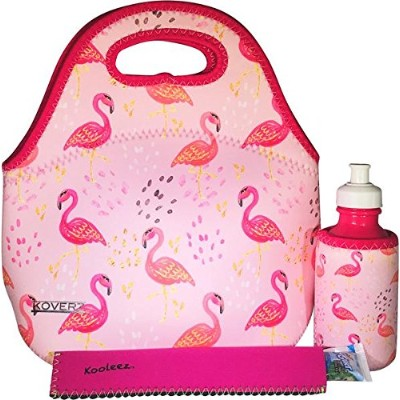 (Pink Flamingos) - KOVERZ - 3 Piece Lunch Tote Set w/Freezer Pop Sleeve - CHOOSE YOUR STYLE - Pink...