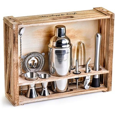 Mixology Bartender Kit: 11-Piece Bar Tool Set with Rustic Wood Stand - Perfect Home Bartending Kit...