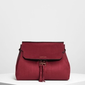 【SALE 20%OFF】タッセルディテール フロントフラップ バックパック / Tassel Detail Front Flap Backpack (Maroon) レディース