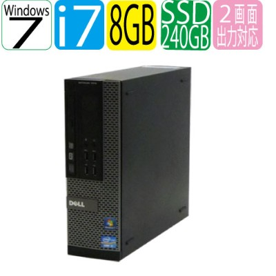 DELL optiplex 7010SF Core i7 3770 3.4GHz メモリ8GB 新品SSD240+新品HDD1TB DVDマルチ Windows7Pro 64bit WPS...