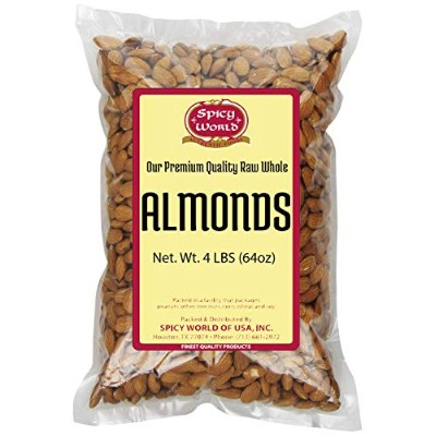 Spicy World Almonds Whole (Natural and Raw), 4 Pound by Spicy World