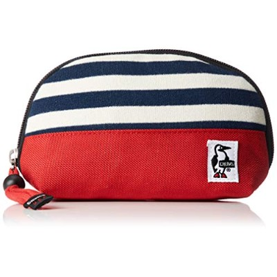 [チャムス] ポーチ Shell Pouch Sweat Nylon Navy Border/Tomato