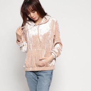 【SALE 60%OFF】ゲス GUESS AMY CRUSHED VELVET HOODIE (CAMEO ROSE MULTI)