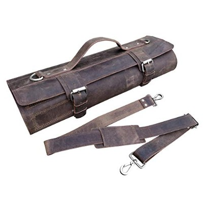 (Silver Colour Buckle) - Leather Knife Roll Chefs Bag Hunter Leather - Bedouin X (Silver Colour...