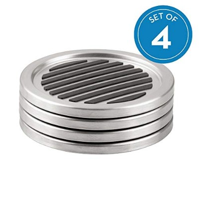 InterDesign Forma Coasters, Set of 4, Brushed Stainless Steel/Black