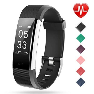 (black) - Lintelek Fitness Tracker, Heart Rate Monitor Activity Tracker with Connected GPS Tracker,...