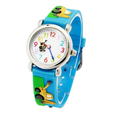 AQBD Kids Cartoon 3D Sports Quartz Silicone Wristwatch Time Teaching Gift for Boys Girls キッズ腕時計...