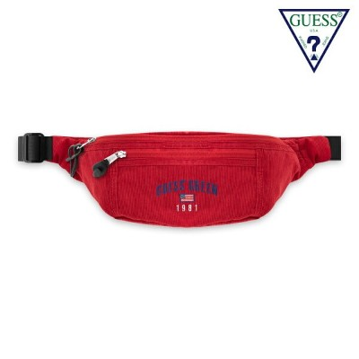 GUESS GREEN LABEL ゲス グリーンレーベル GUESS GN CORDUROY FANNY PACK - RED ボディバッグ レッド メンズ レディース ストリート バッグ...