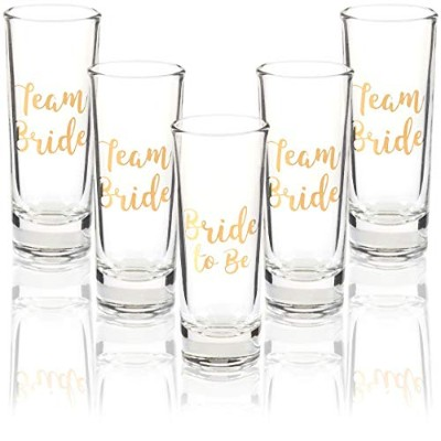(Team Bride) - Party Favours Shot Glasses - Bachelorette Shot Glasses with Bride to Be and Team...