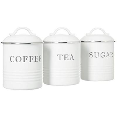 Barnyard Designs Decorative Kitchen Canisters with Lids White Metal Rustic Vintage Farmhouse...
