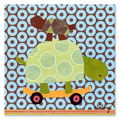 (25cm by 25cm) - Oopsy Daisy Skateboarding Turtles Stretched Canvas Wall Art by Winborg Sisters, 25...