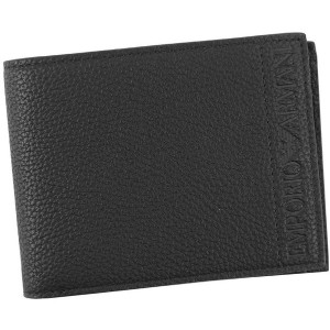 【SALE 30%OFF】エンポリオアルマーニ EMPORIO ARMANI BI-FOLD WALLET WITH COIN CASE (NERO) メンズ