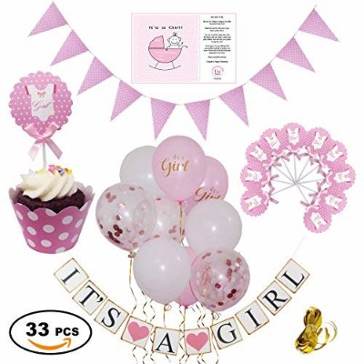 Baby Shower Decorations for Girl in Pink & Gold - Pink, White & Confetti Balloons with Gold Ribbon ...