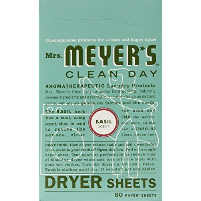 Mrs. Meyer's Clean Day Dryer Sheets, Basil, 80-Count Boxes by Mrs. Meyer's Clean Day
