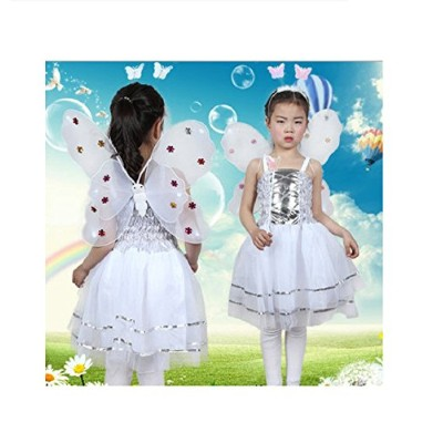 (White) - MATISSA Girls 4 Pcs Complete Butterfly Fairy Costume Set Kids Butterfly Wings Alice...