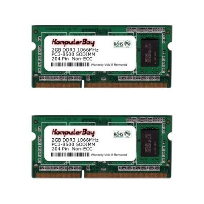 Komputerbay 4GB (2 X 2GB) DDR3 SODIMM (204 pin) 1066Mhz PC3 8500 4 GB (7-7-7-20) 4GB (2X2GB)...