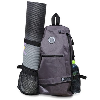 (Grey) - Aurorae Yoga Mat Bag. Multi Purpose Cross-body Sling Back Pack. Mat sold separately.