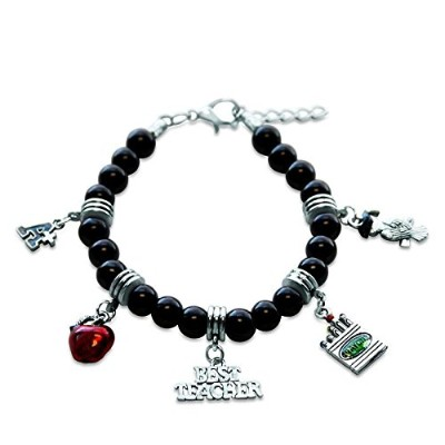 (Teacher Silver) - Whimsical Gifts Profession Charm Bracelets