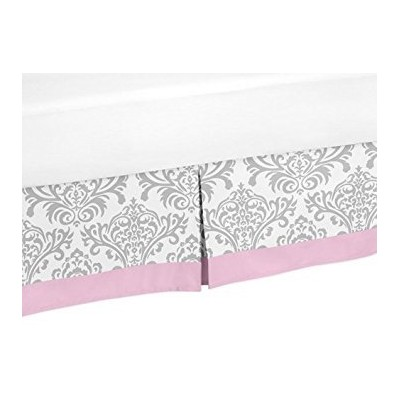 Pink and Grey Elizabeth Queen Bed Skirt for Childrens Teen Bedding Sets by Sweet Jojo Designs