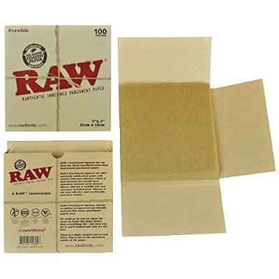 RAW Unrefined Parchment Paper Squares 5 x 5 100 Sheet Pack by RAW