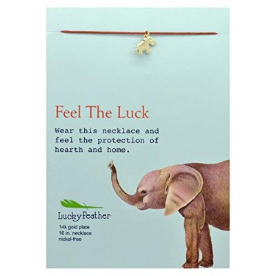 "Lucky Feather Elephant Gifts – "" Feel the Good Luck"" 14 K Gold Dipped上品象ネックレス – Elephantジュエリーレディース..."