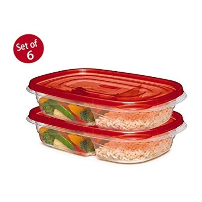 (6 pack) - Rubbermaid 7F57-RE-TCHIL TakeAlongs Divided Container, 6 Pack, Multicolor