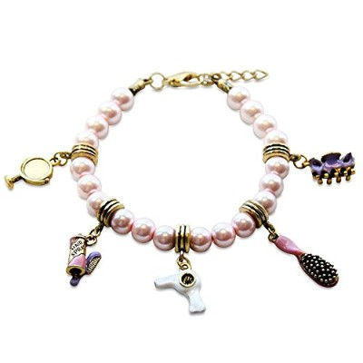 (Beautician Gold) - Whimsical Gifts Profession Charm Bracelets