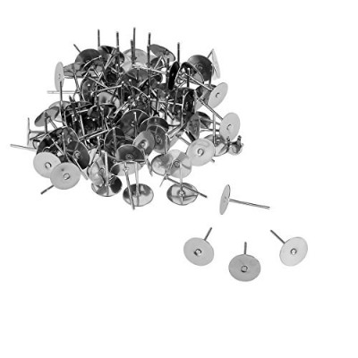 (12mmx8mm) - VALYRIA 100pcs Stainless Steel Silver Flat Pad Post Earring Finding 12mmx8mm
