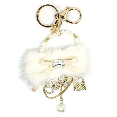 Teri 's Boutique Lovely FauxファービーズリボンクローバーバッグラインストーンCyrstal Purseキーチェーン Purse charm size: 3 inches...