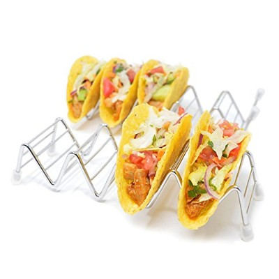 2 Pack of Taco Holders: 4/5 Stack Stainless Steel Taco Stand Holders with Non-Slip/Anti-Scratch...