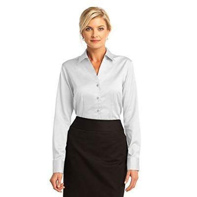 Red House RH63 Ladies French Cuff Non-Iron Pinpoint Oxford Shirt44; White - Medium
