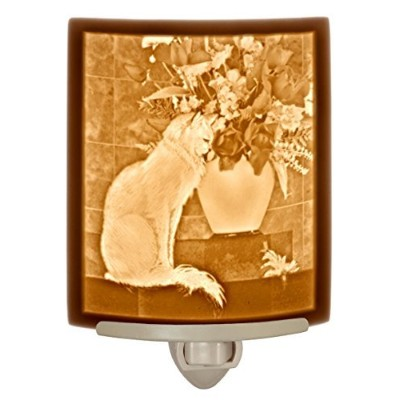 """"""" Cat with Flowers """" – Fine Porcelain Lithophane Curved Night Light"""