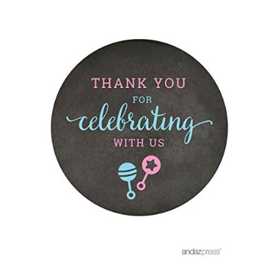 (Label Round Thank You For Celebrating) - Andaz Press Team Pink Team Blue Gender Reveal Baby Shower...