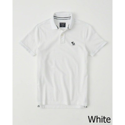 Abercrombie&Fitch (アバクロンビー&フィッチ) 正規品 鹿の子半袖ポロシャツ (Throwback Icon Polo) メンズ (White) 新品