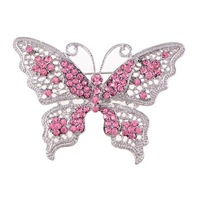 (Pink) - Alilang PINK Tone Clear Crystal Rhinestone Filigree Butterfly Brooch Pin