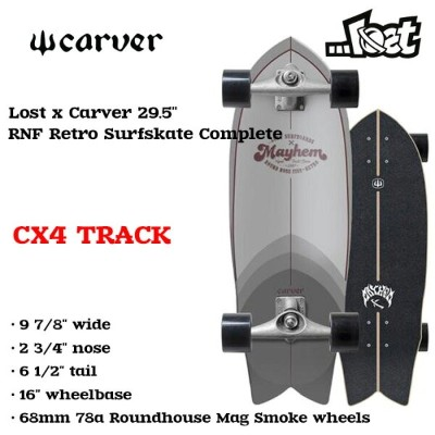 """CARVER カーバー Lost x Carver 29.5"""" ロスト RNF Retro Surfskate Completee CX4"""