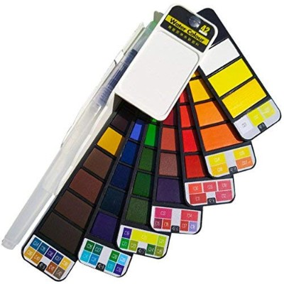 (42 Colors) - 42 Colour Travel Watercolour Set - Foldable & Portable Watercolour Paint Set for...