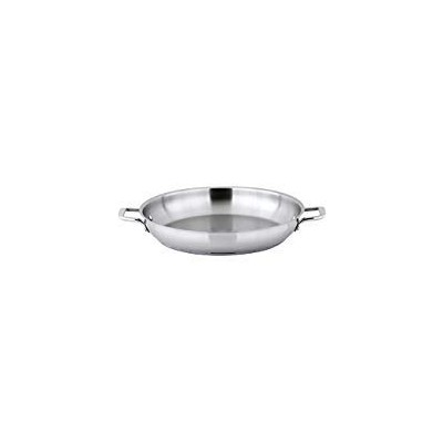 Winco SSOP-14, 36cm Dia Try-Ply Stainless Steel Omelette Pan with 2 Handles, French Omelette Pan,...
