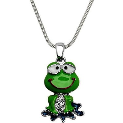 "Dianal Boutique Adorable Funny Frogペンダントネックレス21 ""チェーンギフトボックス版ファッションジュエリー"