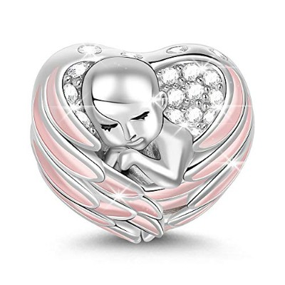 "GNOCE""Sleeping Baby Wrapped in Angel Wings Baby Charm Pink Wings Silver for Mothers 925 Sterling..."