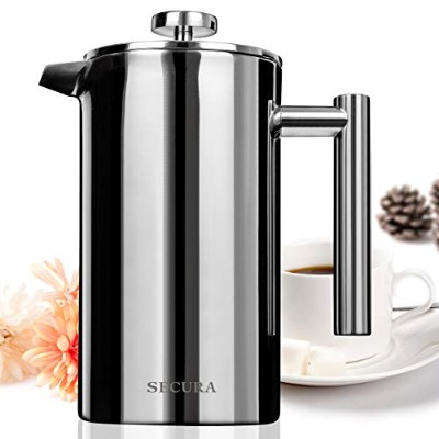 Secura Stainless Steel French Press Coffee Maker 18/10 Bonus Stainless Steel Screen (1000ML) by...